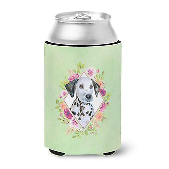 Carolines Treasures  CK4296CC Dalmatian Puppy Green Flowers Can or Bottle Hugger