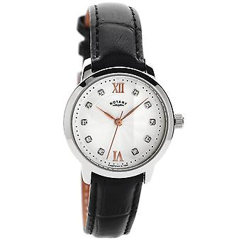 Rotary Classic Black Leather Strap Crystal Indexes Damenuhr