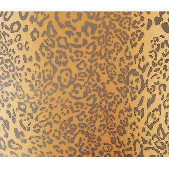 Leopard Skin Wallpaper Animal Print Beige Brown Metallic Grey Heavyweight Muriva