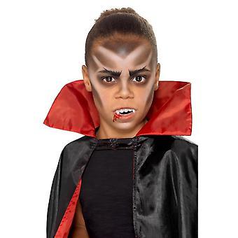 Barn Halloween vampyr Facepaint Kit 3 färger huggtänder stöpplingen svamp & borste