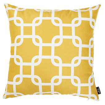 Yellow and White Lattice Decorative Throw Pillow Cover