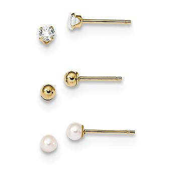 3.3mm 14k Madi K 3 Pair Set ball CZ Cubic Zirconia Simulated Diamond and Freshwater Cultured Pearl Earrings Jewelry Gift