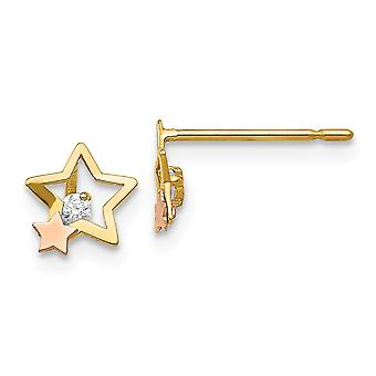 14k Madi K gelb und Rose Gold CZ Zirkonia simuliert Diamant für Jungen oder Mädchen Star Post Ohrringe