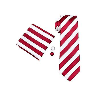 JSS Mens Red Striped 100% Silk Pocket Square, Cufflink And Tie Set