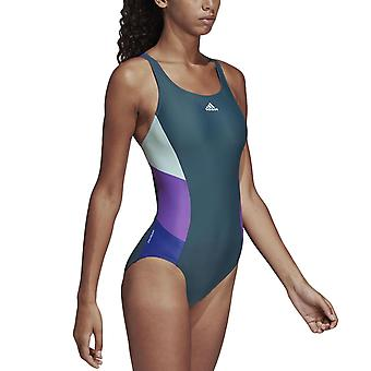 adidas Performance Womens Colour Block One Piece Swim Swim Costume - Vert