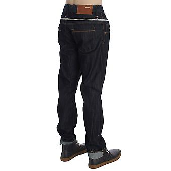 Acht Blue Cotton Regular Straight Fit Jeans With Contrast Band