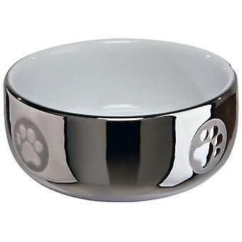 Trixie Katze Futtertröge, Keramik, 0,3 L / Ø11cm, Silber-Weiß