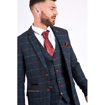 Marc Darcy ETON Tweed Check Blazer - Navy Blue