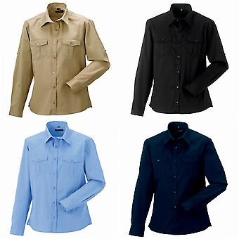 Russel Collection Mens Long / rulle-Sleeve Arbetsskjorta