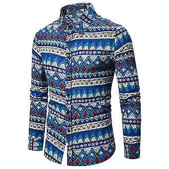 Allthemen Men-apos;s Printed Long Sleeve T-shirt Chemise traditionnelle