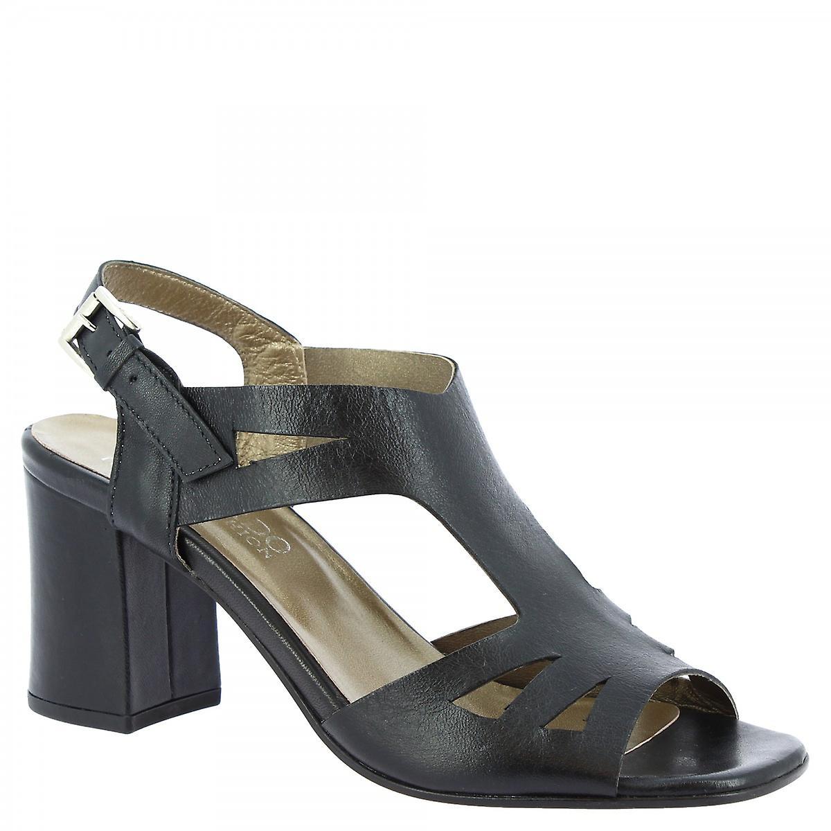Leonardo Shoes Women's handmade heel sandals in black calf leather with buckle pRTRM
