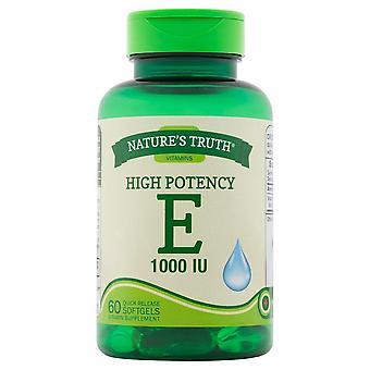 Nature'a verdade vitamina e, 200 iu, softgels de liberação rápida, 100 ea