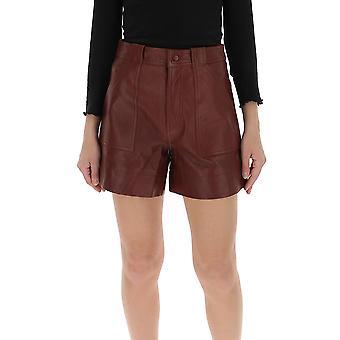 Ganni F4560927 Women's Brown Leather Shorts
