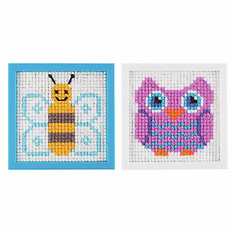 My First Cross Stitch Owl & Bee Craft Kit for Kids - Boxed Gift Set