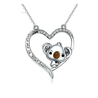Koala Heart pendant adorned with White Swarovski Crystal and Silver 925 8087