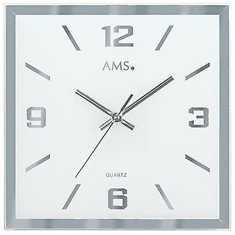 AMS 9324 Seinäkello Kvartsi analoginen hopea neliö hiljainen ilman tikittävää lasia