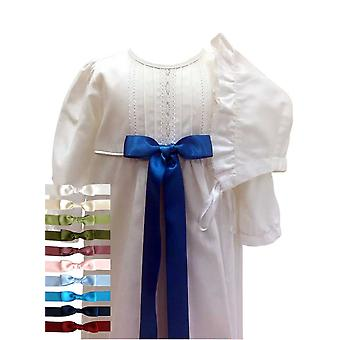 White Cotton Christening Gown With Bonnet, 10 Bow Options – Grace Of Sweden