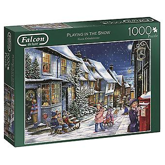 Falcon De Luxe Jigsaw Puzzle - Playing In The Snow, 1000 Piece