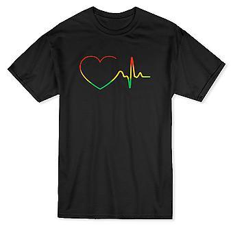Electrocardiograma Rasta corazón gráfico camiseta de los hombres