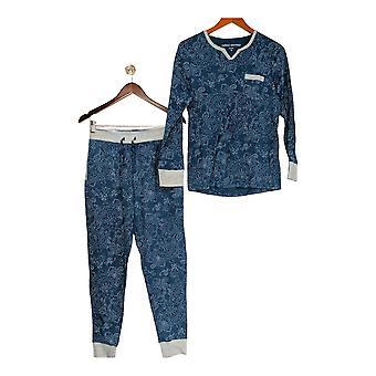 Carole Hochman Women's Pajama Set Interlock Paisley Dot Blue A310268