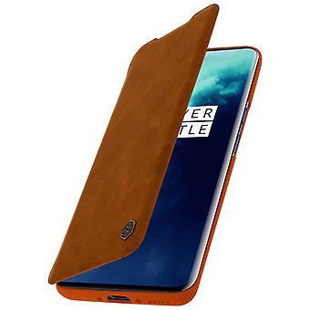 Nillkin Qin-serie flip wallet case, ingebouwde kaartsleuf Oneplus 7T Pro- Bruin