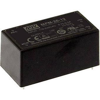 Mean Well MPM-20-12 AC/DC PSU (print) 12 V DC 1.8 A 21.6 W