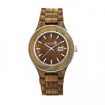 Tierra madera Cherokee pulsera reloj w/magnifica fecha - oliva