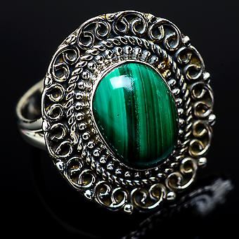 Malachite Ring Size 8 (925 Sterling Silver)  - Handmade Boho Vintage Jewelry RING11963
