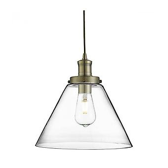 Pyramid Pendant Lamp, In Antique Brass And Glass