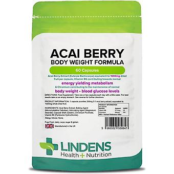 Lindens Acai Berry Body Weight Formula 1000mg Capsules 60 (847)