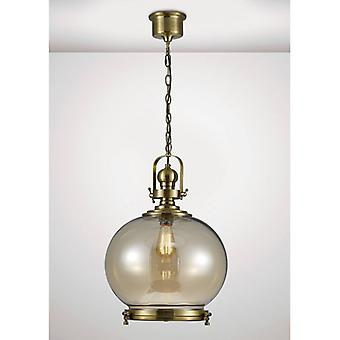 Pendentif Light Riley Single Large Ball 1 Bulbe E27 Antique Brass / Cognac Glass