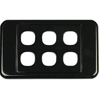 6 Way Australian Style Wall Plate Black