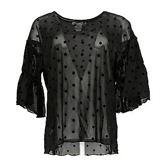 Masseys Women's Top Blouse w/ Ruffled Sleeves Black