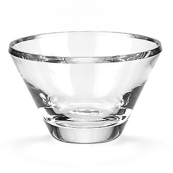 "8"" Mouth Blown Crystal European Made Beveled Edge Bowl"