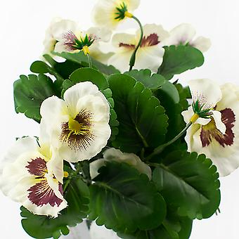 Large Artificial White Pansy Spray - Silk Fabric Flowers
