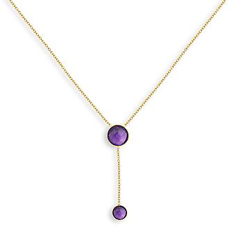 ADEN Plaqué or Amethyst Round Shape Collier (id 4425)