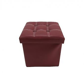 Rebecca Meubels Ottomaanse Pouf Gewatteerde Bordeaux FoldingKin 30x30x30