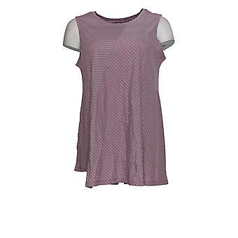 LOGO door Lori Goldstein Women's Top Gestreepte Knit Purple A343695