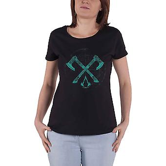 Assassins Creed Valhalla T Shirt Crossed Axes Official Womens Skinny Fit Black