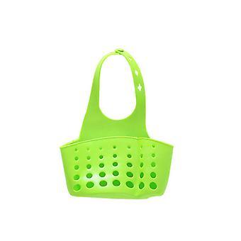Adjustable Button Ktchen Sink Drain Basket Plastic Green