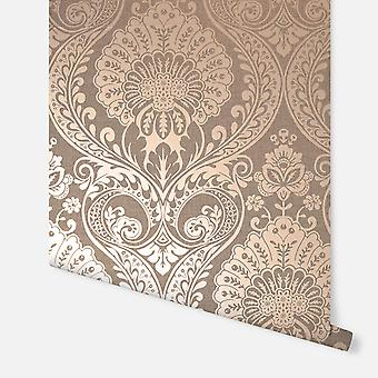 906605 - Luxe Damask Chocolate Rose Gold - Arthouse Wallpaper