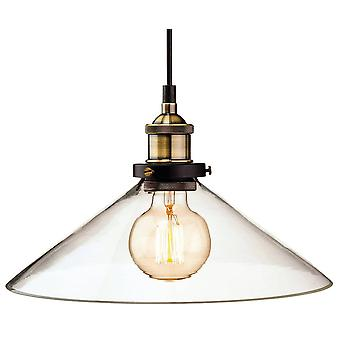 1 Light Dome Ceiling Pendant Antique Brass, Clear Glass, E27