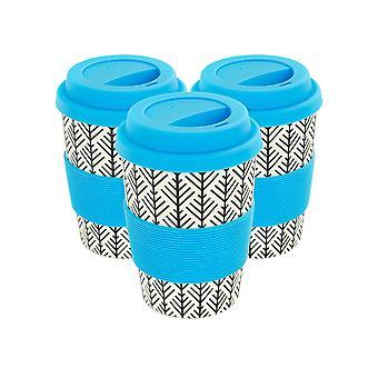 Herbruikbare koffiebekers - Bamboevezel reismokken met siliconen deksel, sleeve - 350ml (12oz) - Geometrisch - Blauw - x3