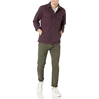 Goodthreads الرجال & apos;ق الوزن الثقيل سترة قميص الفانيلا, أحمر بافالو منقوشة, متوسطة