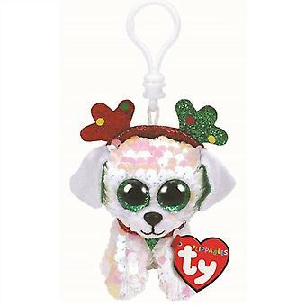 TY Key Clip - Flippable: Sugar the Dog (Noël)