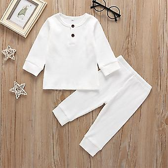 Spring Baby Clothes Set Long Sleeve Solid Tops+pants Pajamas Sleepwear Outfits