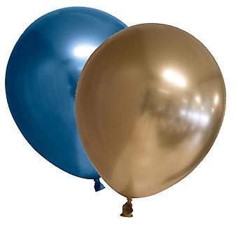 Ballonger Chrome Mirror Reflex - Guld och Blå 10-pack