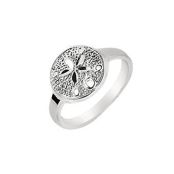 925 Prata esterlina com acabamento de rhodium 2,5 mm brilhante texturizado dólar de areia top sea life ring presentes de joias para mulheres - Rin