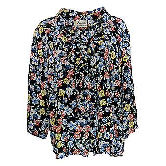 Linea by Louis Dell'Olio Women's Plus Top Printed Ruffle Black A351414