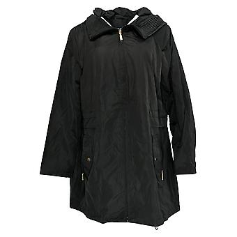 Centigrade Women's Water Resistant Jacket Pleated Hood Collar Black A382166